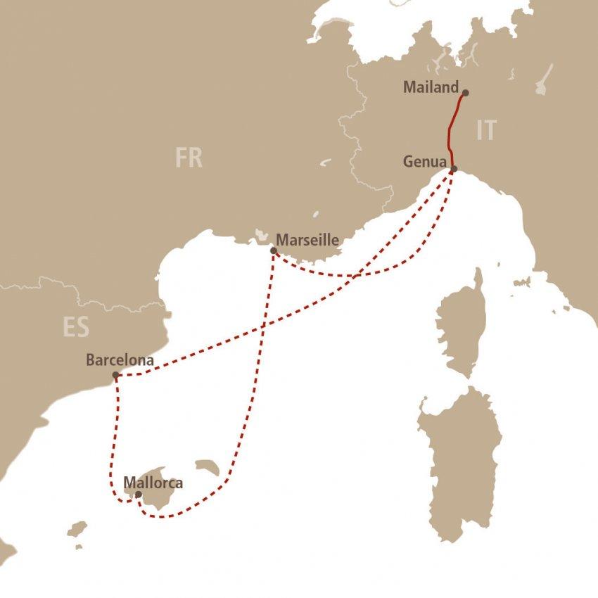 Mallorca Karte Umriss.Euregiotours Osterkreuzfahrt